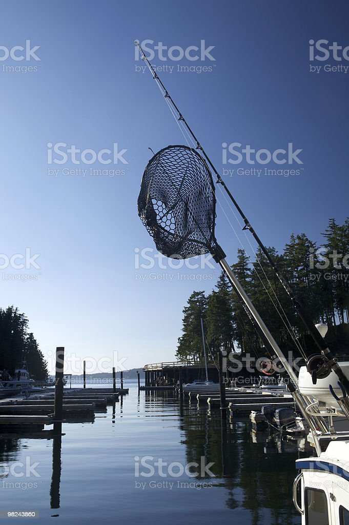 Harbor with fishing net royalty-free stock photo