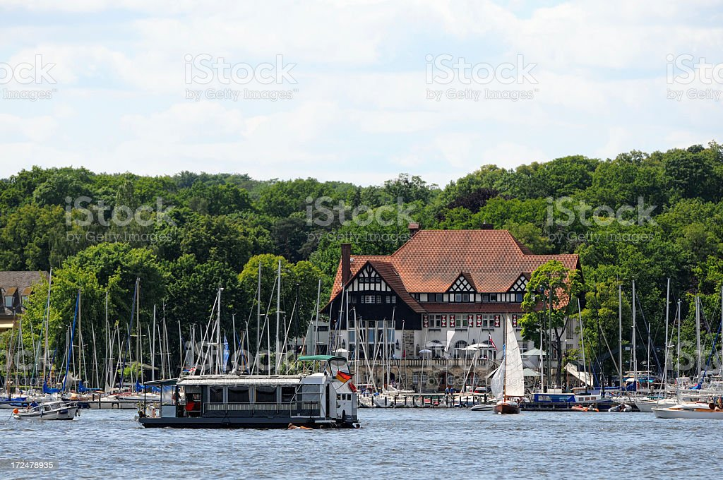 Harbor with sailing boats at Berlin Wannsee (Germany) stock photo