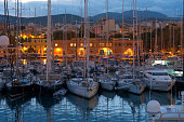 harbor in Palma de Mallorca in afternoon light in sunset