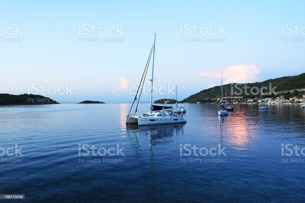 Harbor with yachts in Croatia royalty-free stock photo