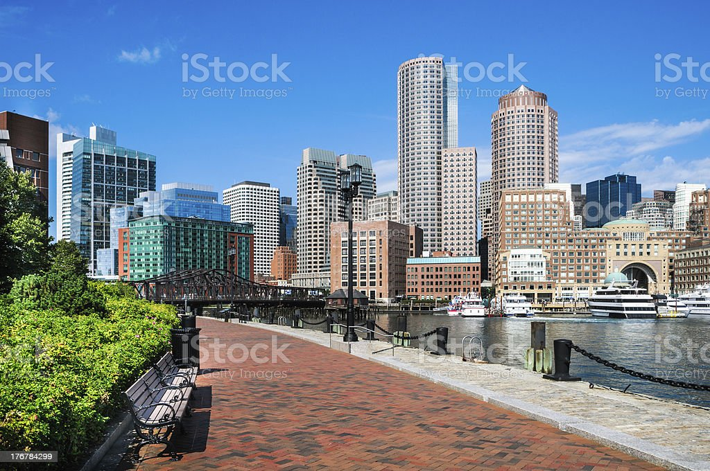 Harborwalk Benches stock photo