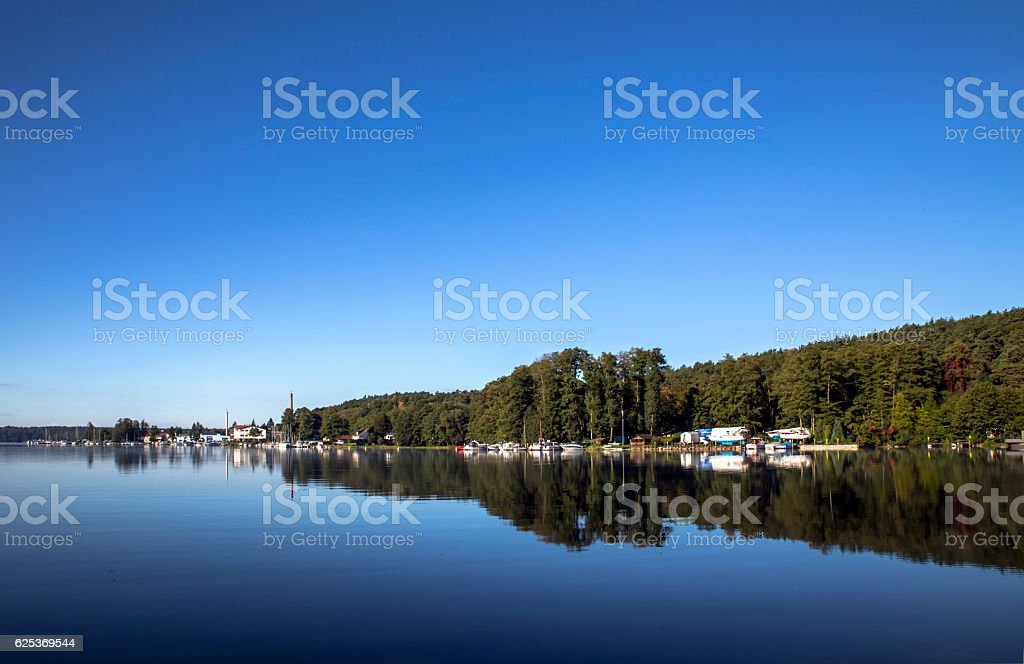 harbour and boots on the werbellinsee by daylight stock photo