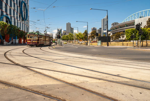Harbour and La Trobe streets intersection with streetcar, Melbourne, Australia. stock photo