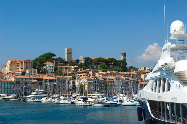 Harbour and marina at Cannes stock photo