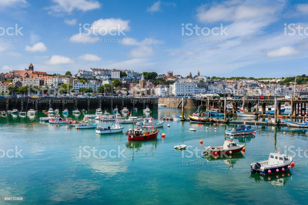 Harbour and Skyline of Saint Peter Port Guernsey stock photo