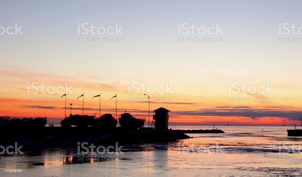 Harbour at sunset stock photo