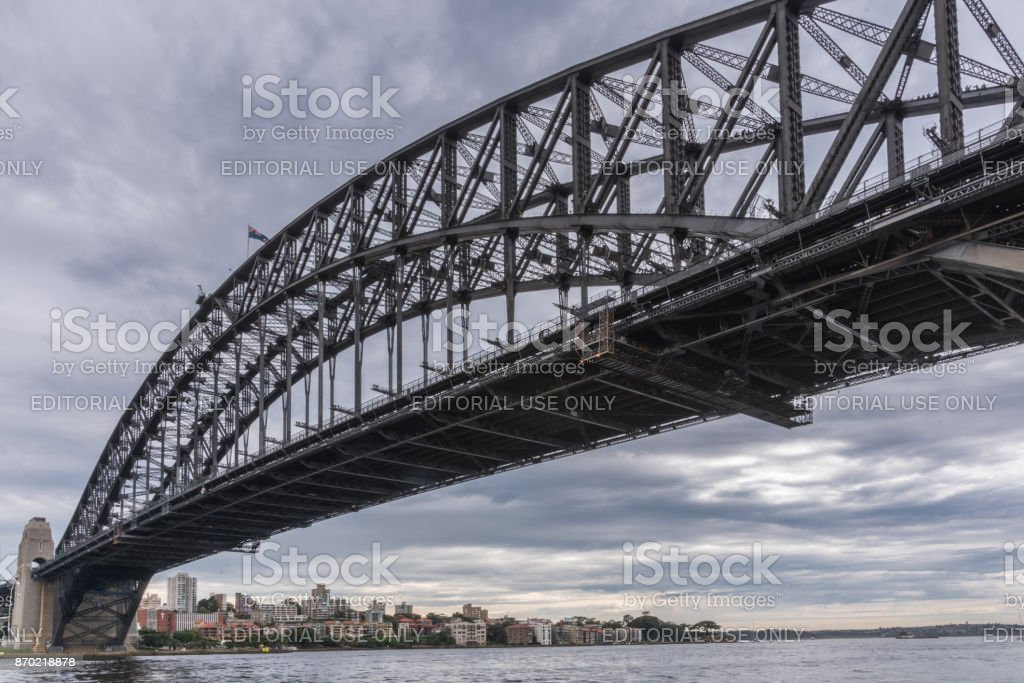 Harbour bridge and harbor outlet to ocean, Sydney Australia. stock photo