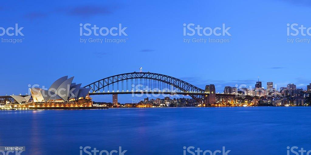 Harbour Bridge and Sydney skyline, Australia at night royalty-free stock photo