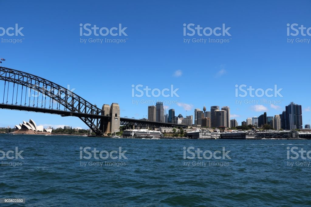 Harbour Bridge and Sydney view from Lavender Bay , New South Wales Australia stock photo