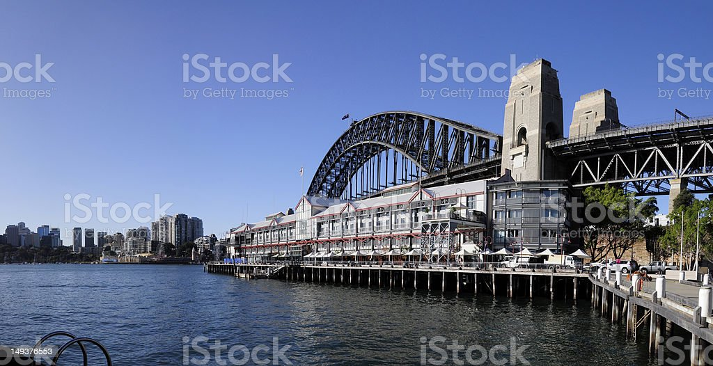 Harbour Bridge from Walsh Bay, Sydney stock photo