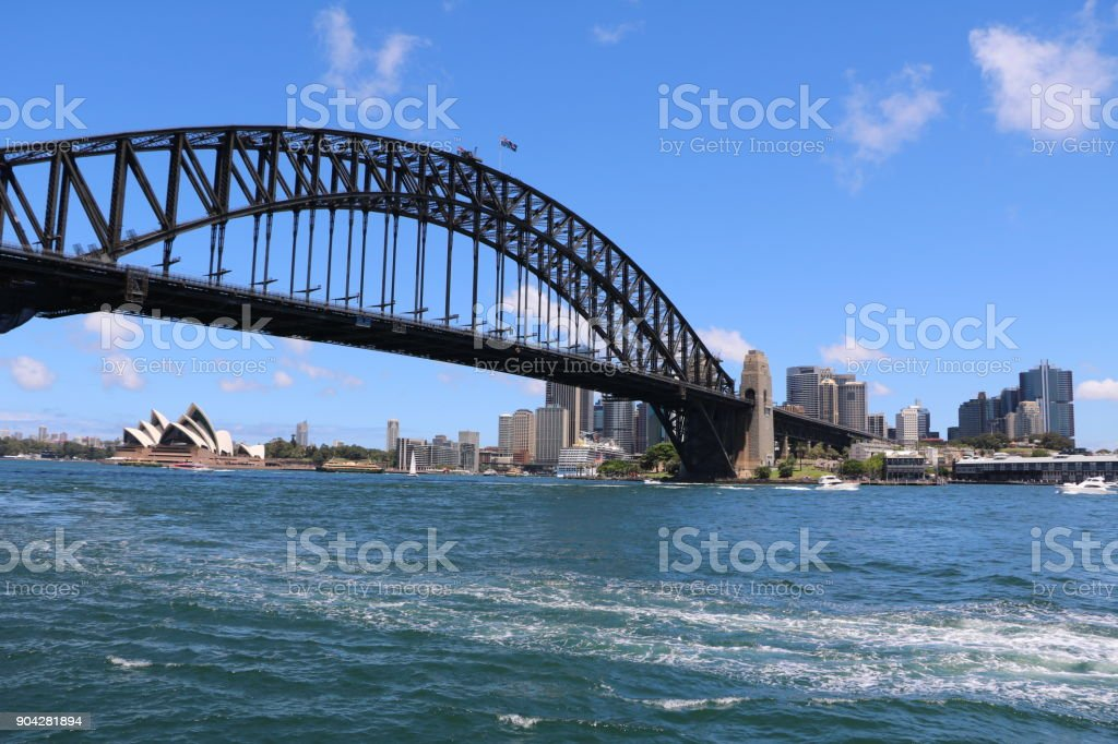 Harbour bridge in Sydney, New South Wales Australia stock photo
