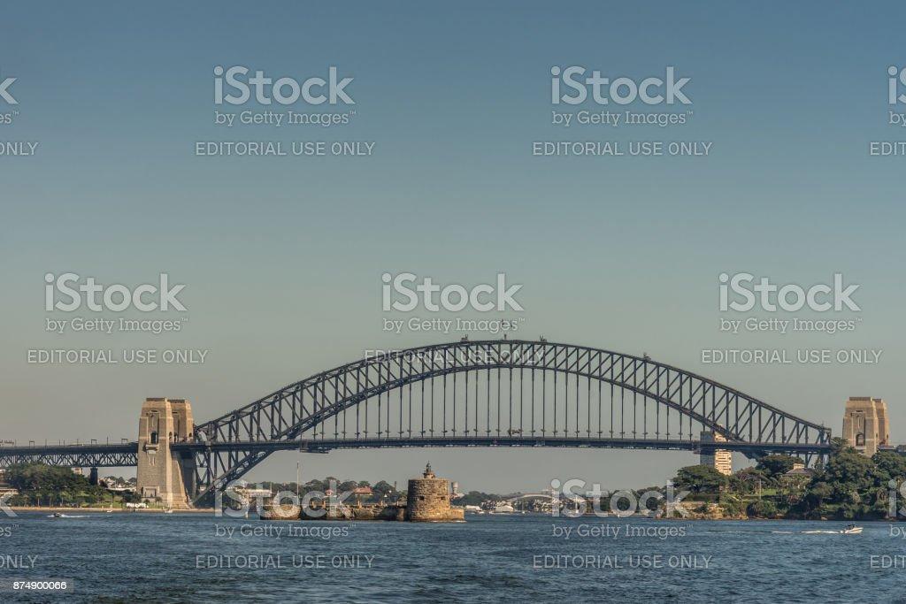 Harbour bridge in totality under blue sky, Sydney Australia. stock photo