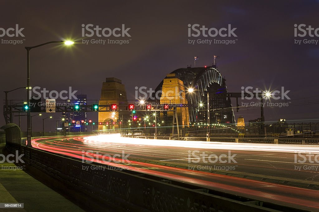 Harbour Bridge Light Trails royalty-free stock photo