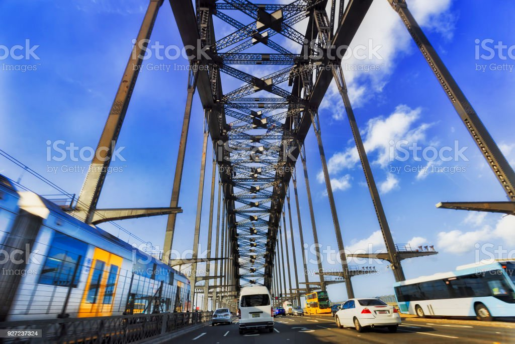 HWY Harbour Bridge Train Bus stock photo