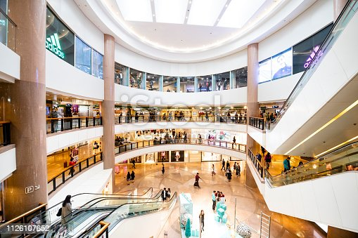 Wide angle interior of Harbour City mall,shopping destination Hong kong