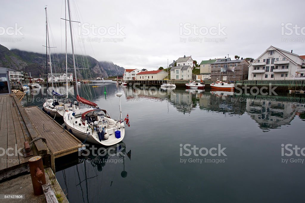 Harbour Henningsvaer stock photo