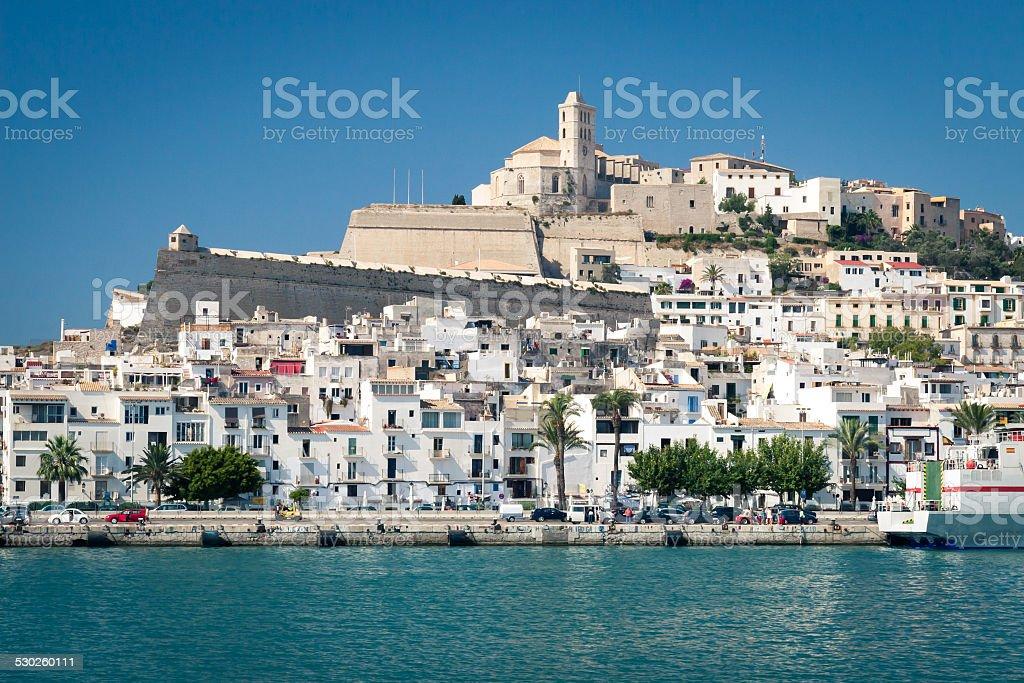 Harbour in Eivissa town, Ibiza island, Spain stock photo