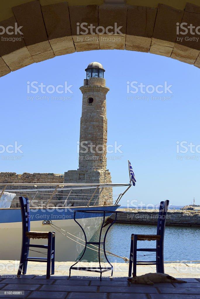 Harbour in rethimno crete stock photo