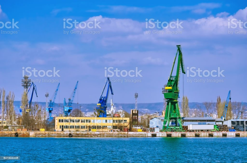 Harbour Level Luffing Cranes stock photo