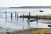 Small old harbour of De Cocksdorp on West Frisian Waddensea island Texel, North Holland, Netherlands
