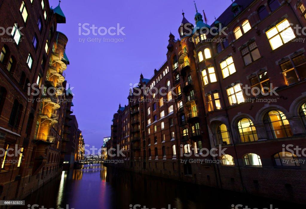 Harbour of Hamburg at night. Germany stock photo