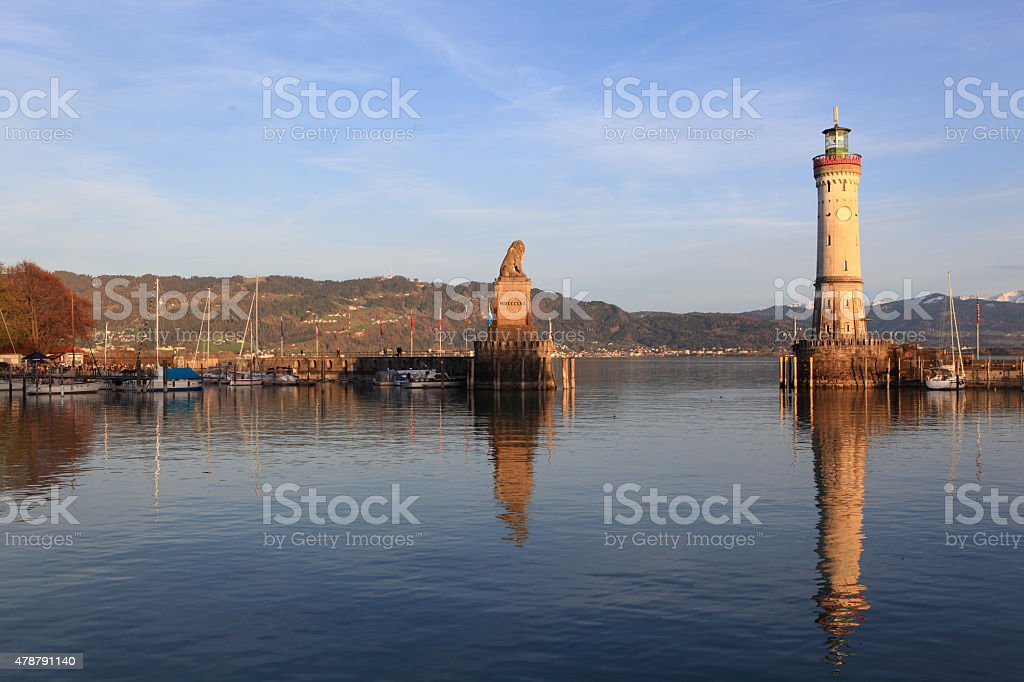 Harbour of Lindau in Lake Constance, Germany stock photo