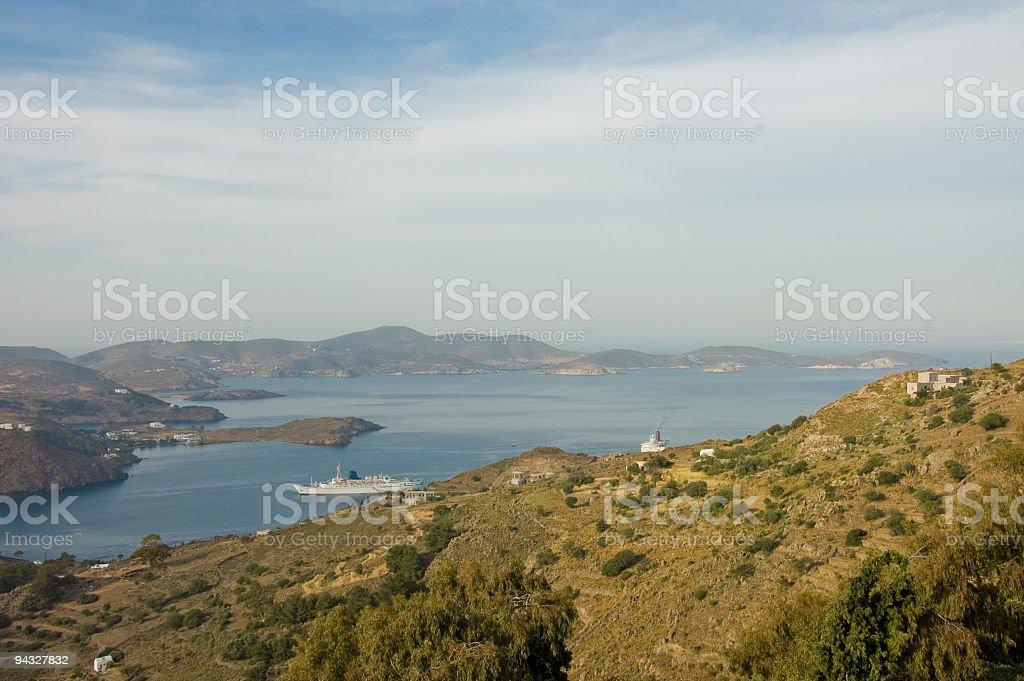 harbour of Skala, Patmos stock photo