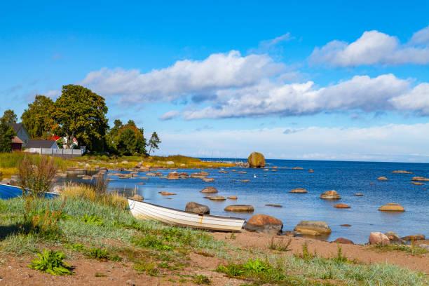 Harbour on the stoned coast of Baltic sea. Kasmu, village of captains, Estonia stock photo
