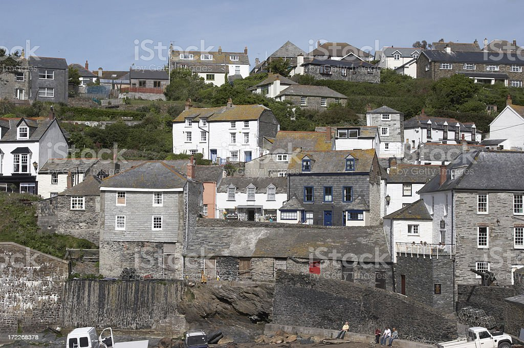 Harbour side with houses royalty-free stock photo