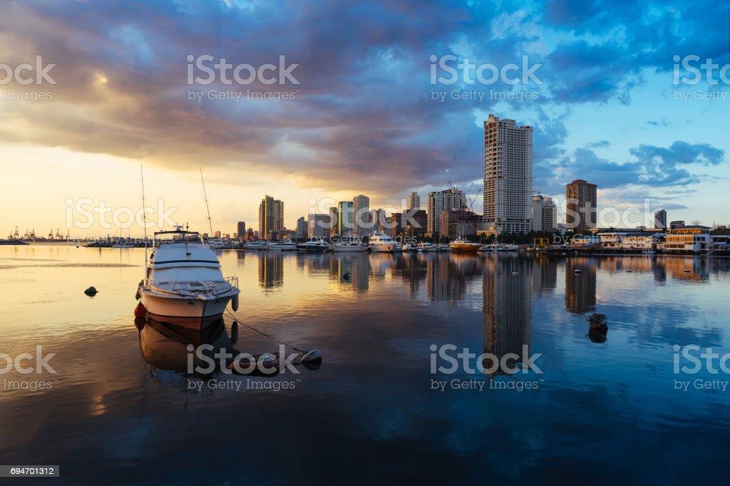 Harbour square of Manila city stock photo