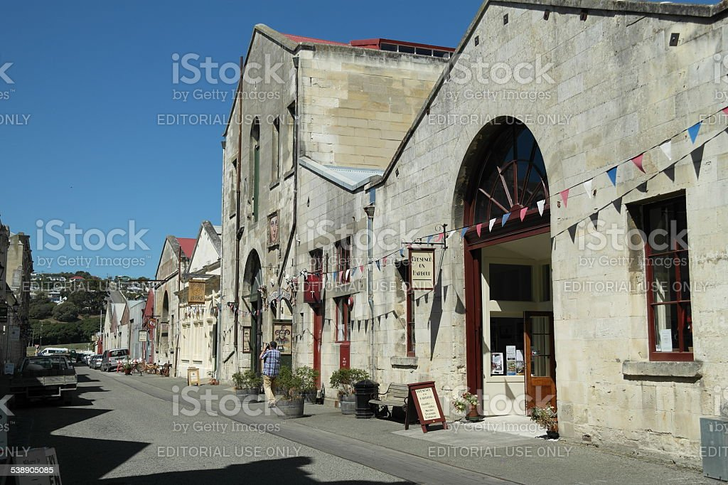 Harbour street Oamaru stock photo