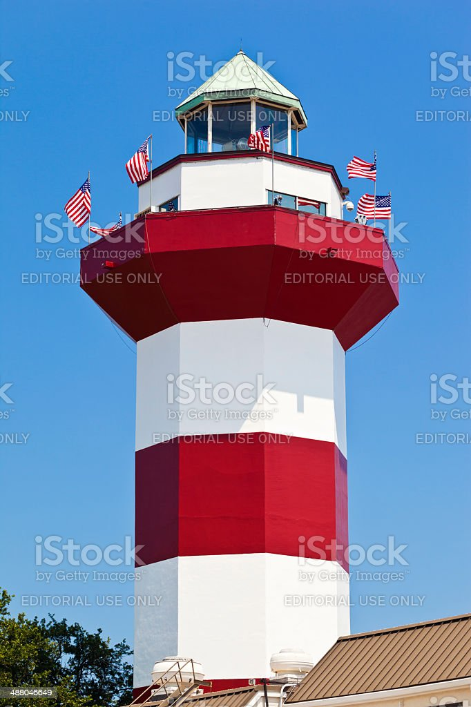 Harbour Town Lighthouse In Hilton Head, South Carolina stock photo