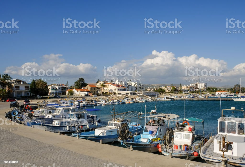 Harbour view at  fishing villlage Zygi, Cyprus stock photo