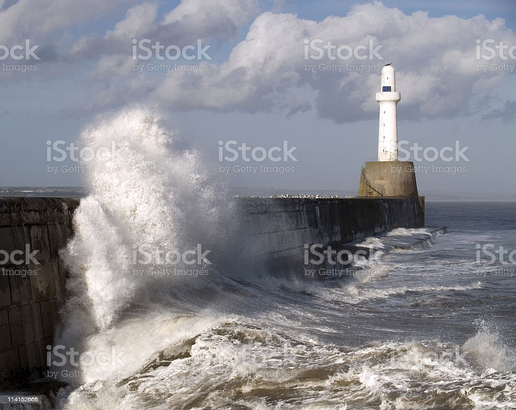 Harbour Wall, Aberdeen, Scotland royalty-free stock photo