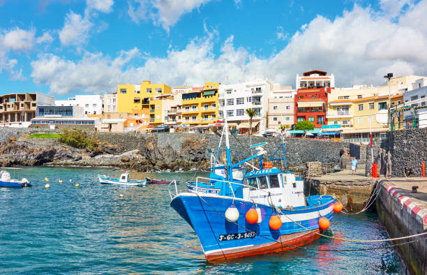 Harbour with fishing boats in Los Abrigos town stock photo