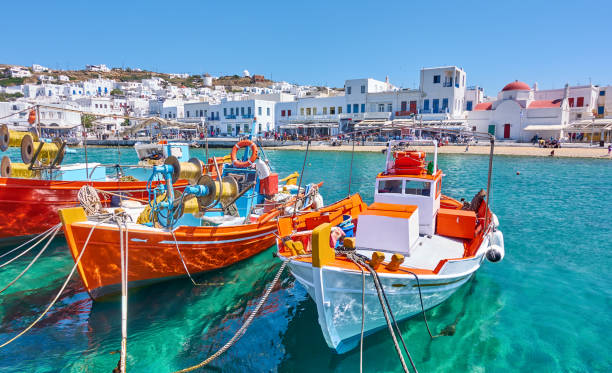 Harbour with fishing boats in Mykonos stock photo