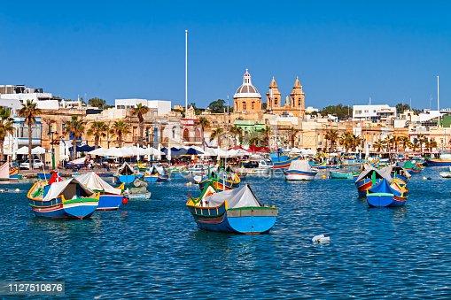 Fishing boats in Marsaxlokk harbor, Malta