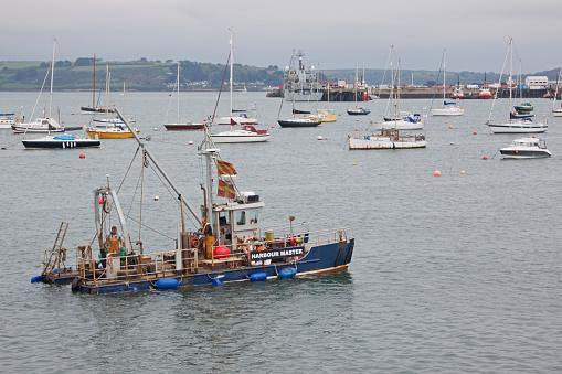Harbourmaster vessel in Falmouth docks UK