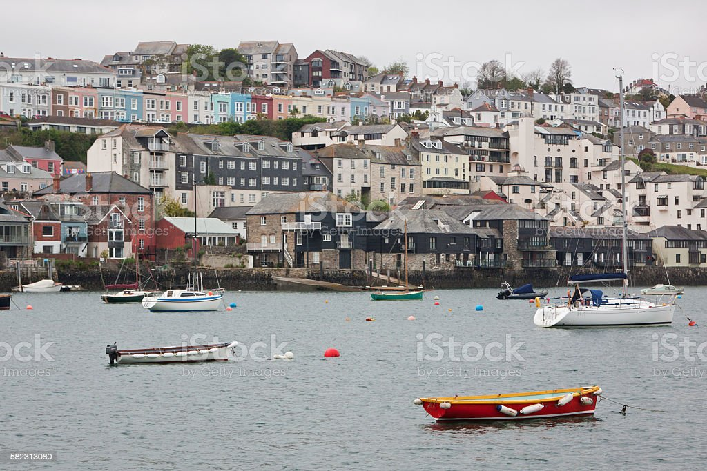 Harbourside housing at Falmouth UK stock photo