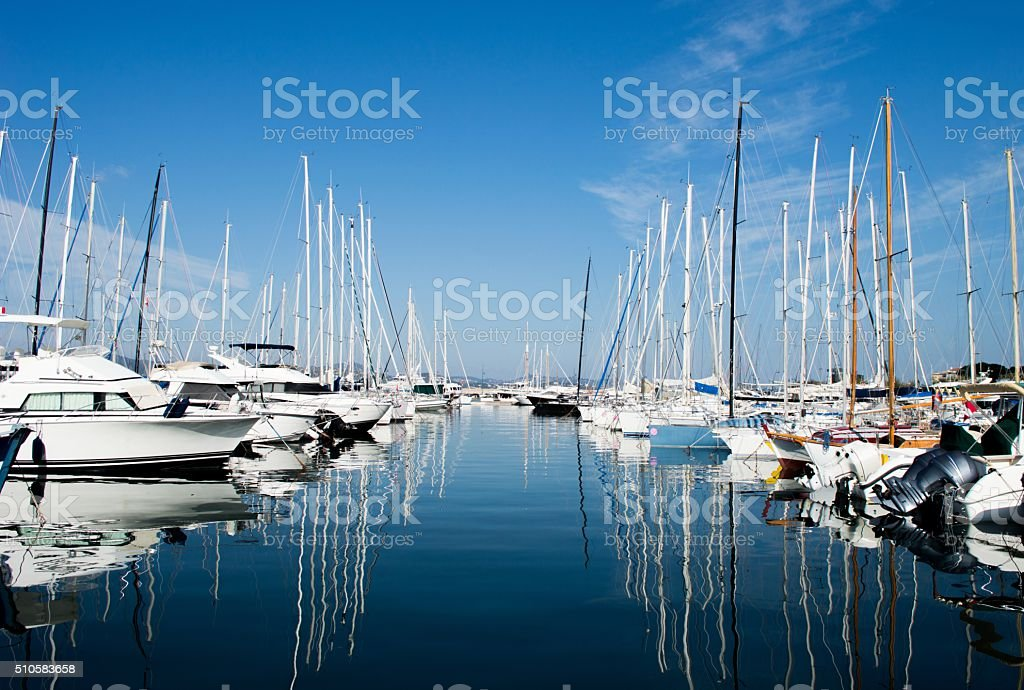 Harbuor with yachts and sailboats Saint Tropez stock photo