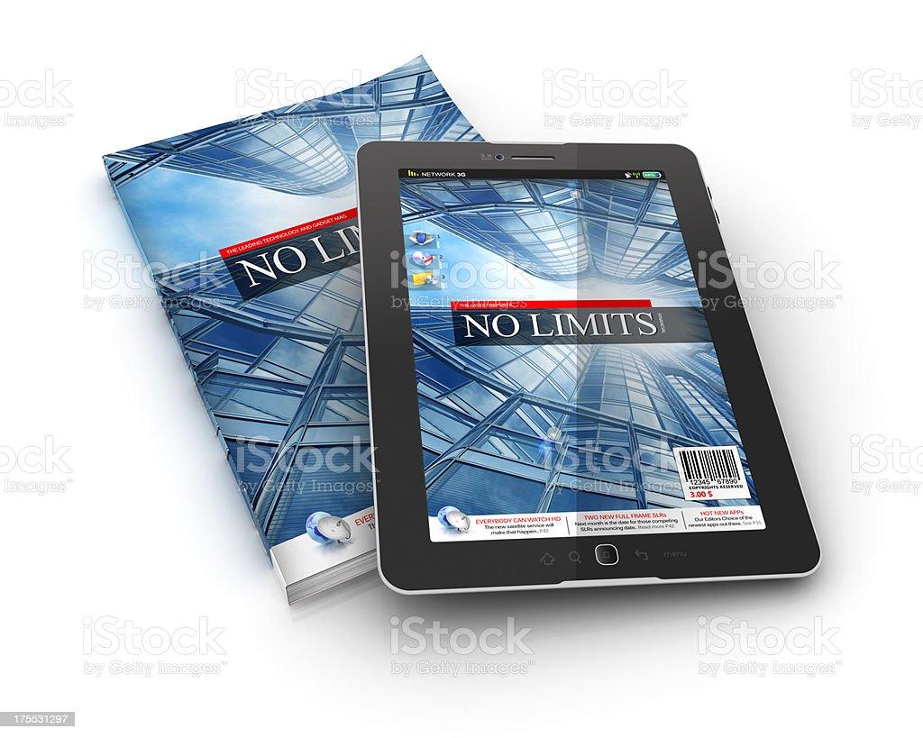 hard and soft copy electronic magazine stock photo