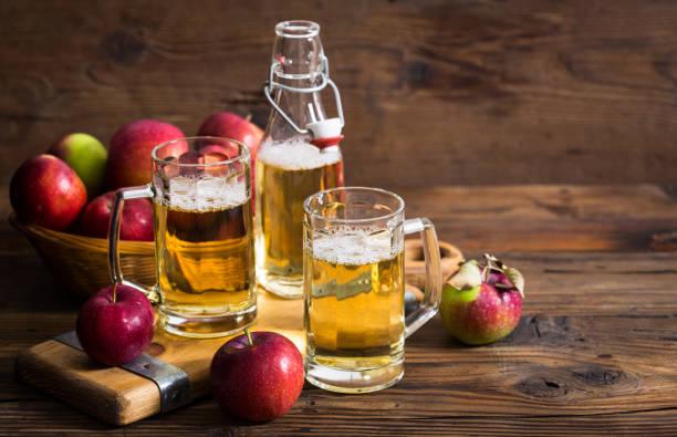 Hard apple cider stock photo