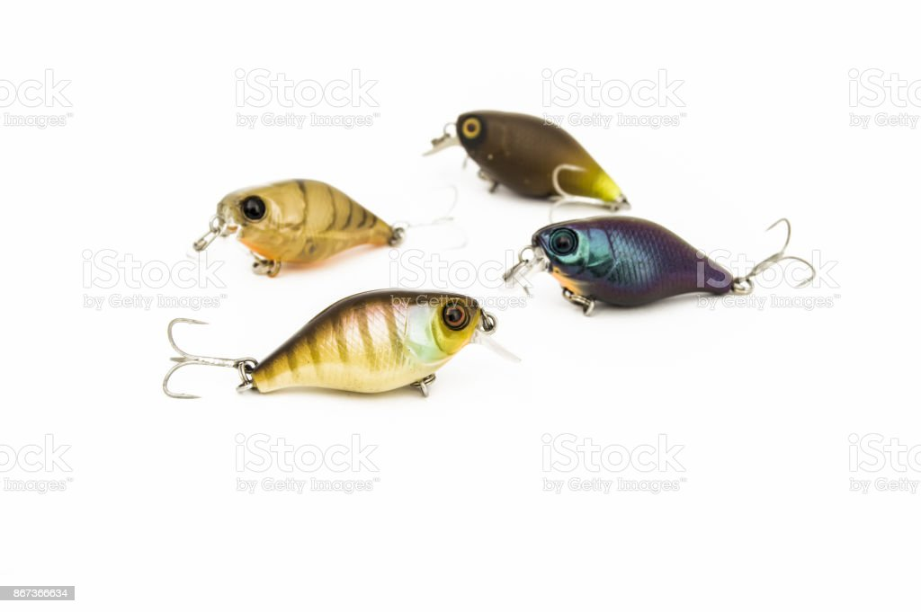 Hard baits lure like a fishing plugs or crankbaits  for freshwater fishing, that imitate baitfish, with a short fat body, on a uniform white background. One of the essential elements of fishing tackle stock photo