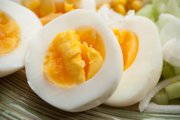 hard boiled eggs in a plate stock photo