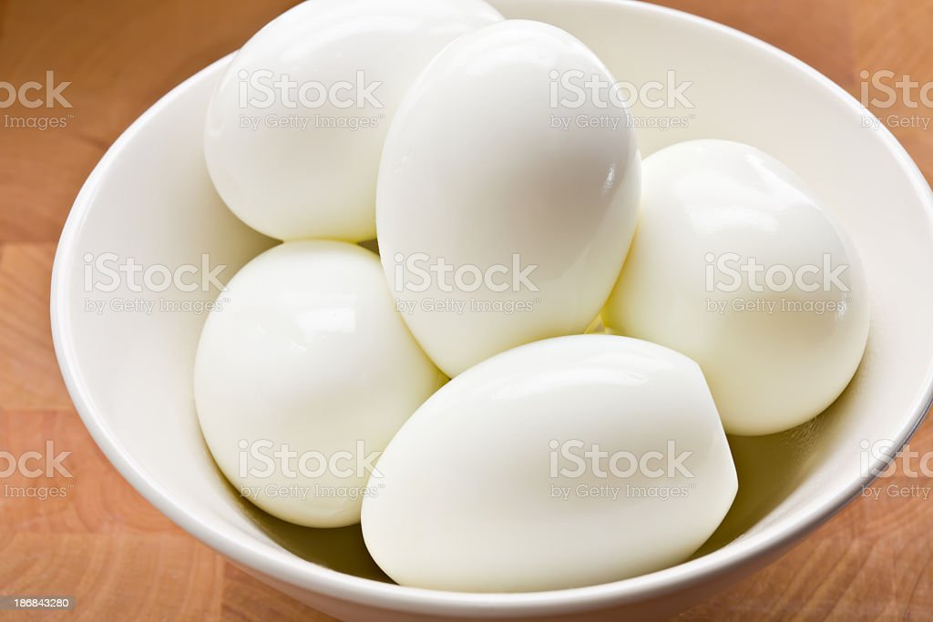 Hard Boiled Eggs In A White Bowl stock photo