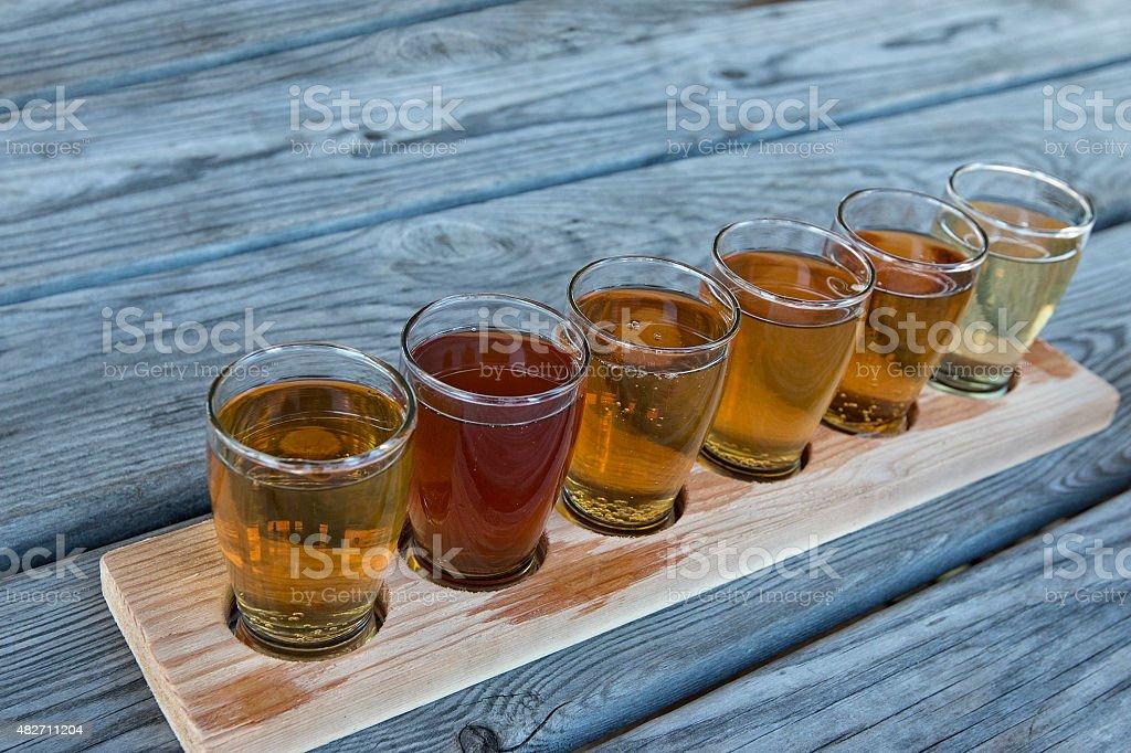 Hard cider flight stock photo