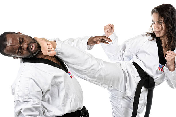 hard contact - karate stock photos and pictures