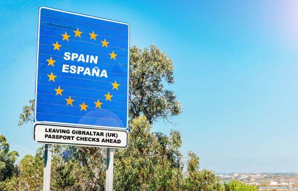 Hard contentious border from UK Territory of Gibraltar to Spain stock photo