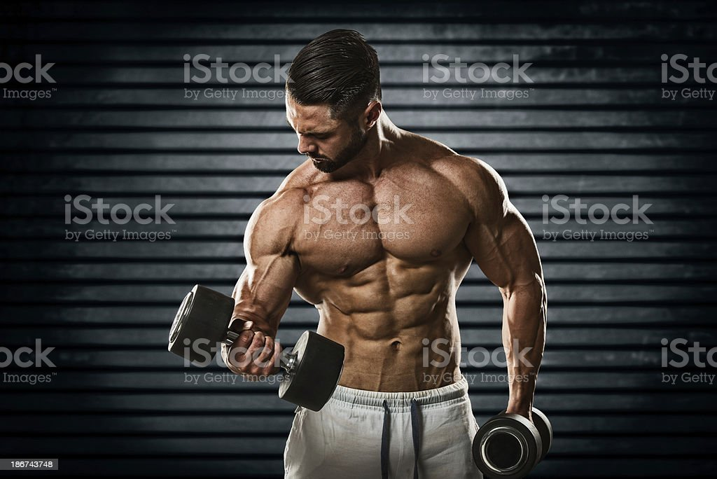 Hard core muscle pump royalty-free stock photo