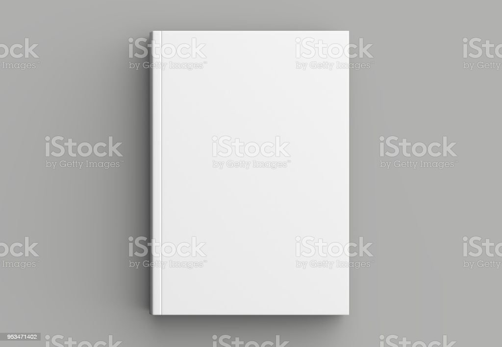 Hard cover book mock up isolated on soft gray background. 3D illustrating. stock photo